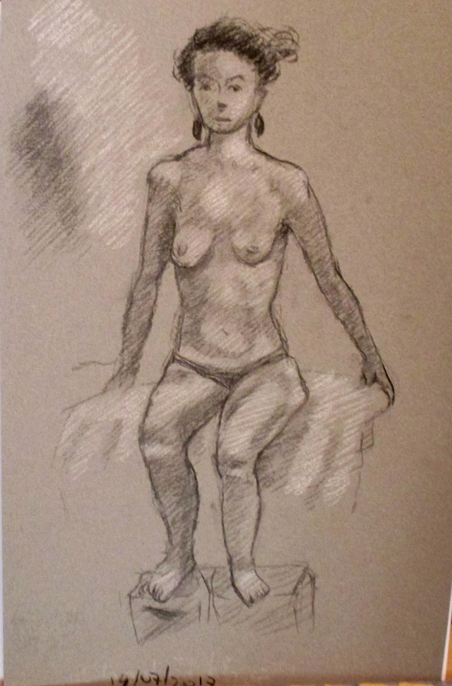 Woman charcoal and chalk