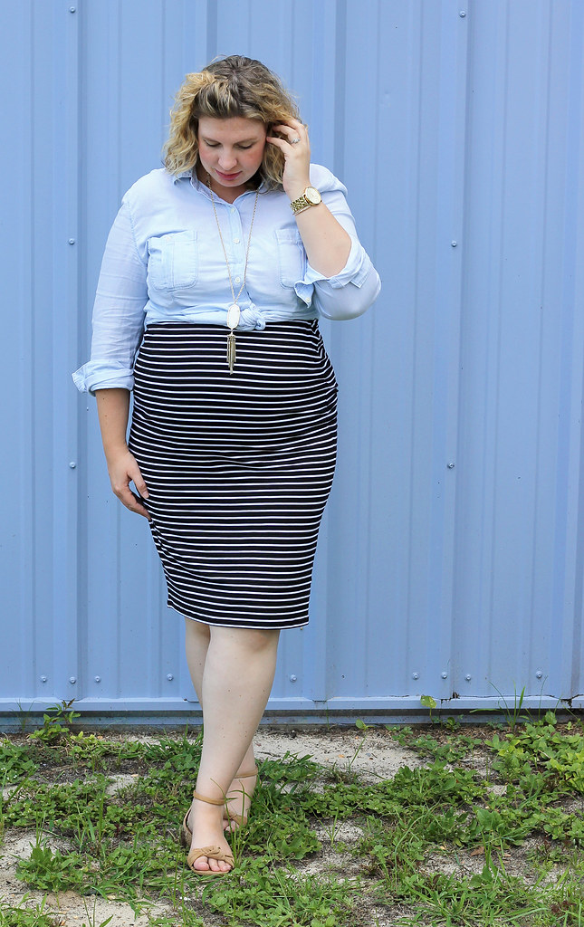 black and white pencil skirt, chambray top, nudge wedge sandals 6