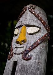 Vertical slit drum depicting human head, Efate island, Port Vila, Vanuatu