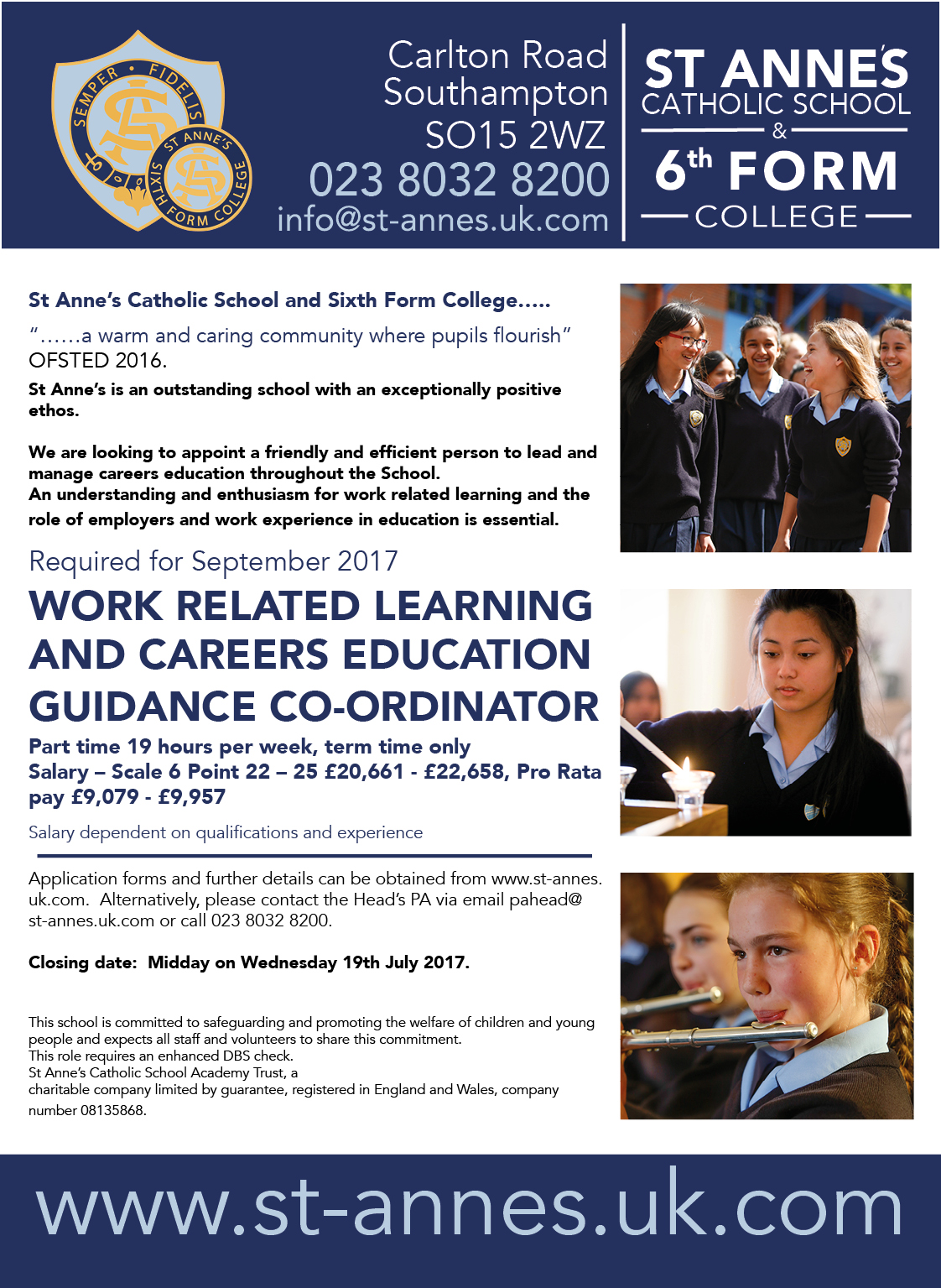 WORK RELATED LEARNING AND CAREERS EDUCATION GUIDANCE CO-ORDINATOR job advert