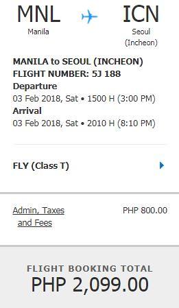 Manila to Seoul Feb 3, 2018 Promo