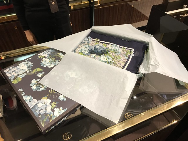 Gucci shawls with blue flowers