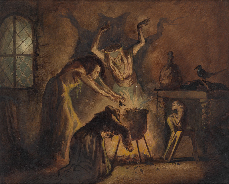 George Cattermole - Scene of the Three Witches from Shakespeare's Macbeth, 1840