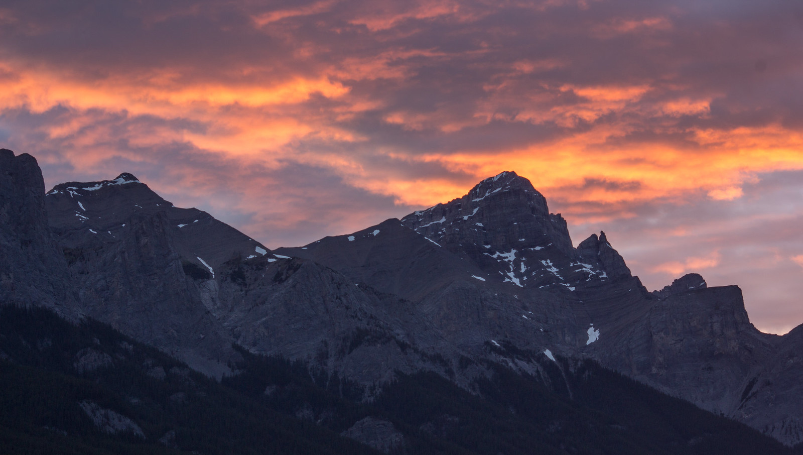 Red and orange clouds over Mount Rundle, Canmore
