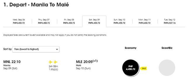 Manila to Maldives FlyScoot September Promo