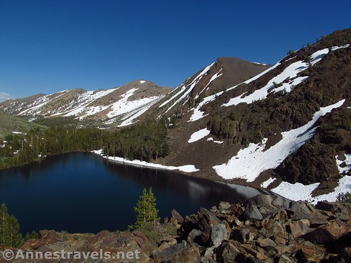 Views down on Blue Lake along the Virginia Lakes Trail, Hoover Wilderness, California