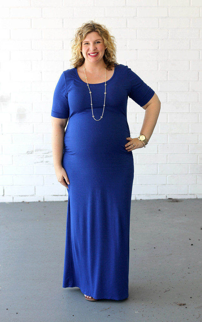 maternity blue maxi dress, medallion sandals 7