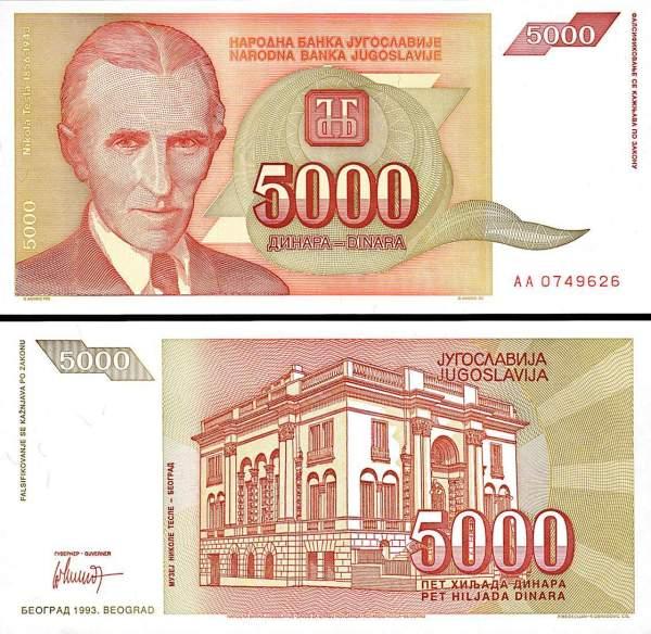 5000 Dinárov Juhoslávia 1993, P128