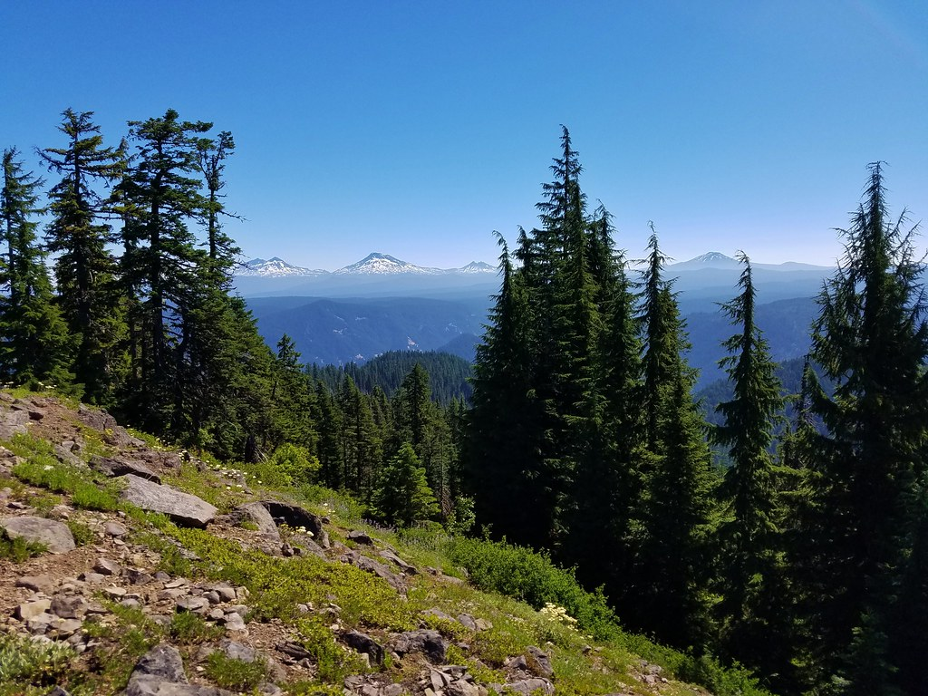 The Three Sisters, Broken Top and Mt. Bachelor from Chucksney Mountain