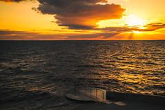 Golden sky and ocean