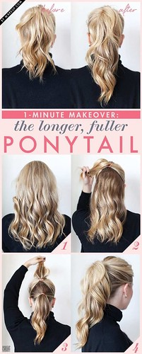 Hairstyles For Short Hair : 13. Fuller Ponytail Beauty Hack | 35 Beauty Hacks You Need To Know About... - #Short