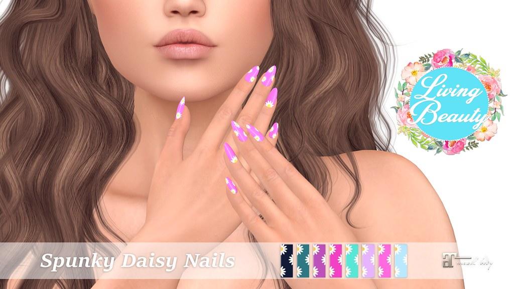 Living Beauty - Spunky Daisy Nails - SecondLifeHub.com
