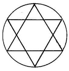 fractales infinitos representados por el circulo y dos triángulos representando la vida humana