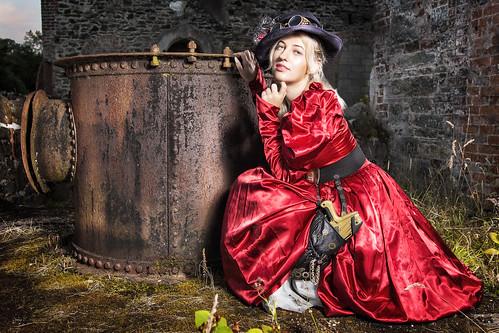 steam punk costume red silk dress hat pipe gun satom belt mario mill