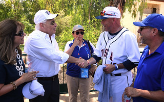 Amb. Friedman throws first pitch in Maccabiah Baseball game