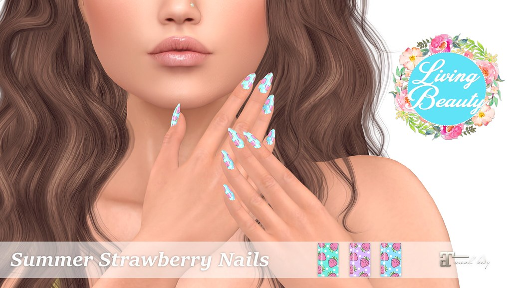 Living Beauty - Summer Strawberry Nails - SecondLifeHub.com