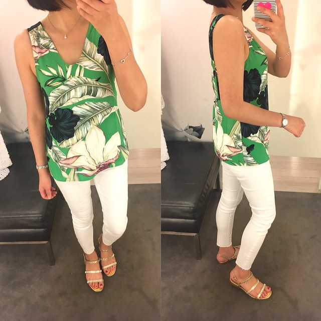 Ann Taylor Palm Leaf Sleeveless Top, size XXSP