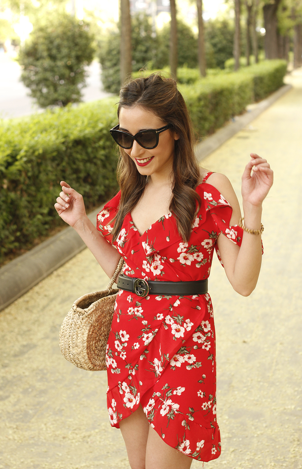 Red flower dress nude heels gucci belt rafia bag style fashion summer07