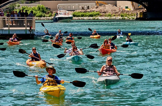A knot of kayakers.