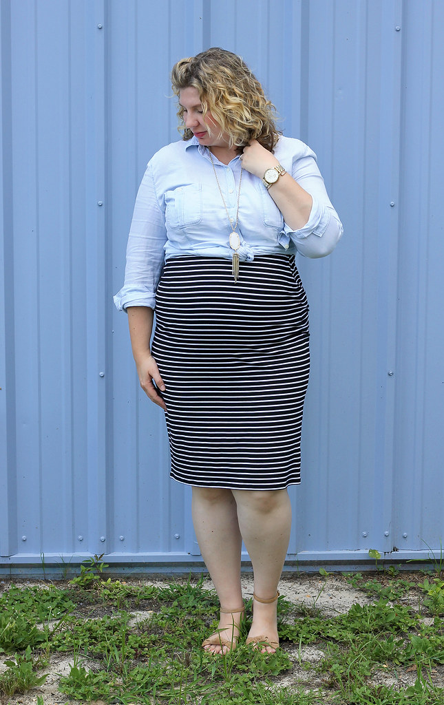 black and white pencil skirt, chambray top, nudge wedge sandals 7