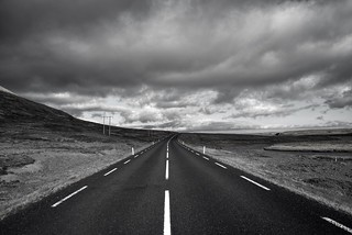 On a lonely road in Iceland
