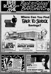 River Roads Mall back to school bargains newspaper ad (1990)