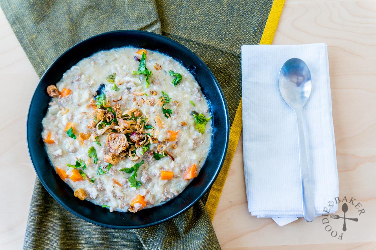 Double Egg Porridge with Minced Pork