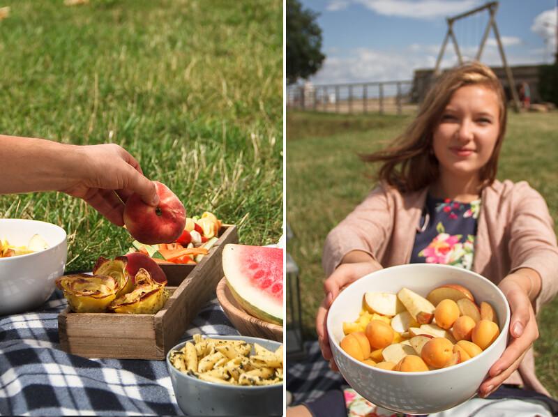 Sommer-Picknick-Obst-und-Sonnenschein