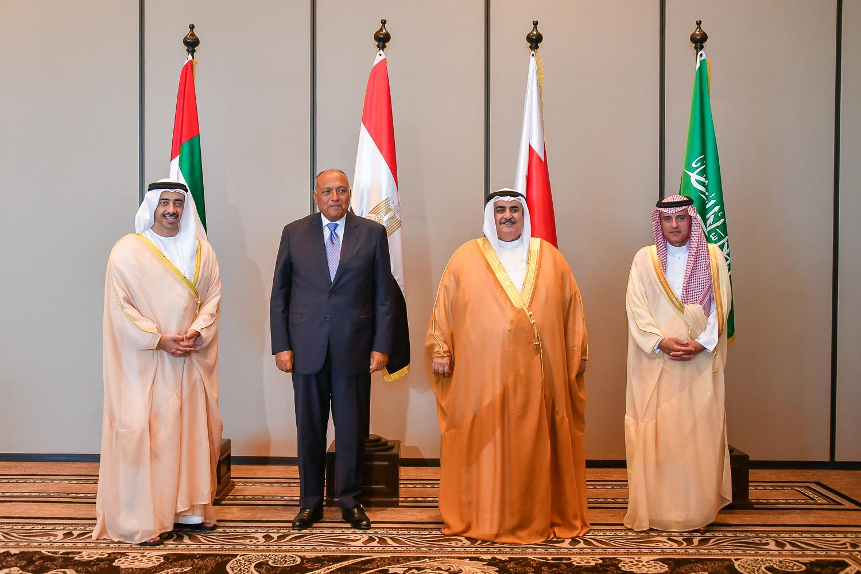 اجتماع وزراء خارجية دولة الإمارات والسعودية والبحرين ومصر في المنامة
