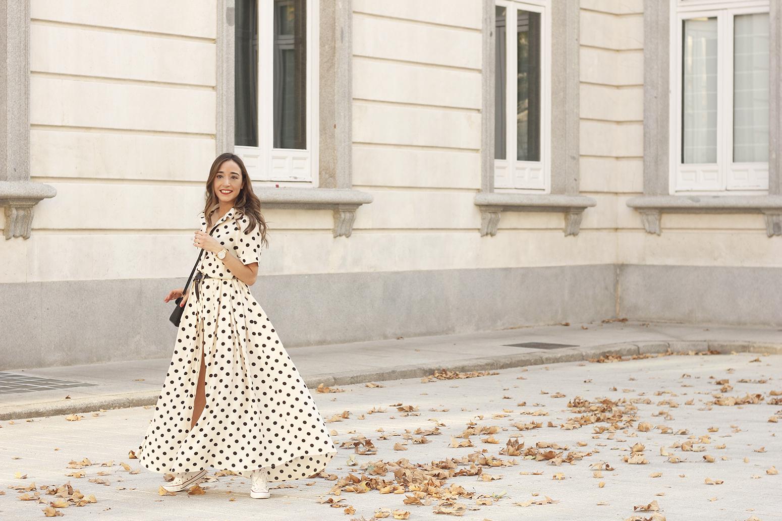 Maxi dress polka dots uterqüe converse givenchy bag summer outfit summer07