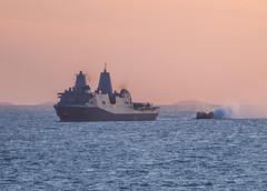 A landing craft air cushion (LCAC) approaches USS Green Bay (LPD 20) during exercise Talisman Saber, July 24. (U.S. Navy/MC3 Jonathan Clay)