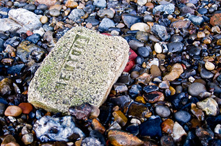Brick in the Thames, exposed at low tide