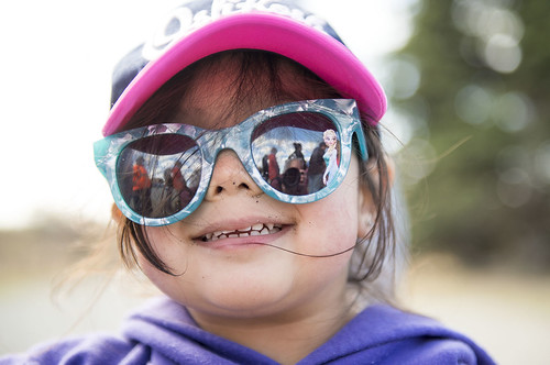 Cabellla Mack is prepared for the sun and fun during the Early Childhood Center's yearend picnic at the tribe's educational fishery site.