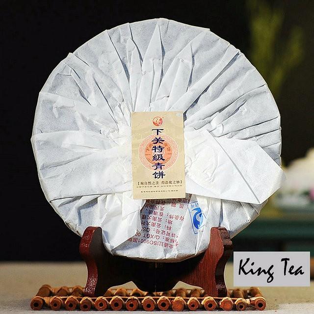 Free Shipping 2014 XiaGuan TeJi Green Cake 357g China YunNan KunMing Chinese Puer Puerh Raw Tea Sheng Cha Weight Loss Slim Beauty