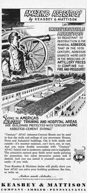 Vintage Asbestos Ad: K&M Amazing Asbestos - 19th Century Asbestos Gaskets