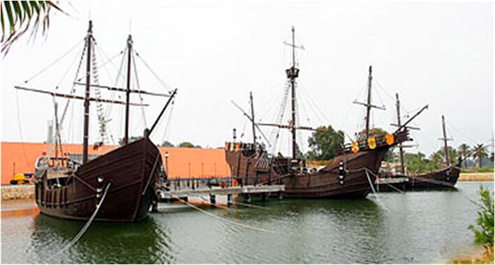Replica of caravels of Christopher Columbus at Palos de la Frontera, Spain
