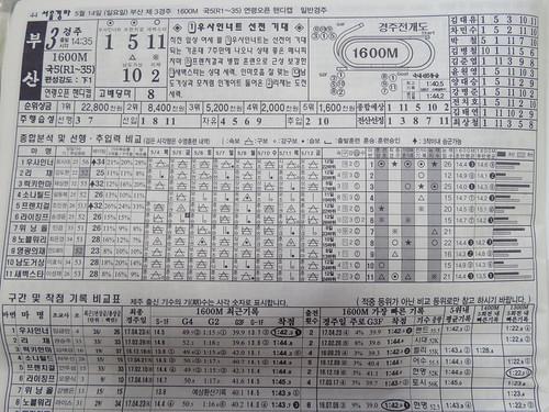 釜山慶南競馬場の競馬新聞の中身