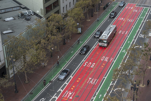 Bus and bicycle priority lanes on Market Street, San Francisco