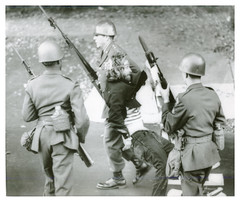 Soldiers arrest antiwar protester at the Pentagon: 1967