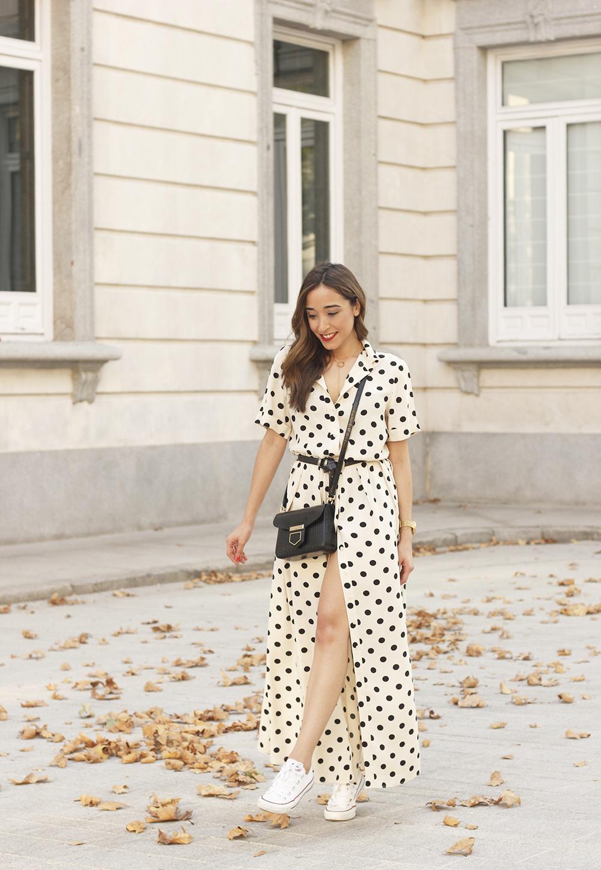 Maxi dress polka dots uterqüe converse givenchy bag summer outfit summer02