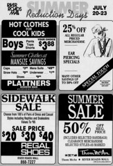 River Roads Mall summer reduction days newspaper ad (1989)