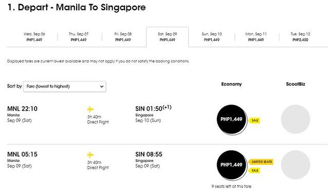 Manila to Singapore FlyScoot September Promo