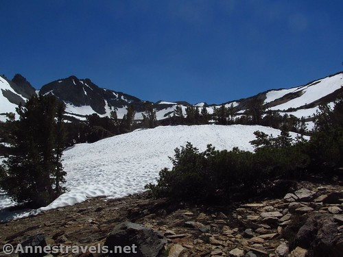 Burro Pass is that dip in the middle of the ridgeline. Virginia Lakes Trail in the Hoover Wilderness of California
