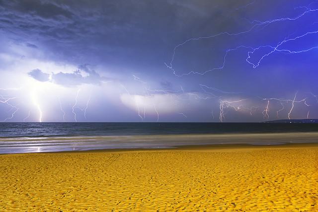 Lightning Storm over Alum Chine Beach Bournemouth
