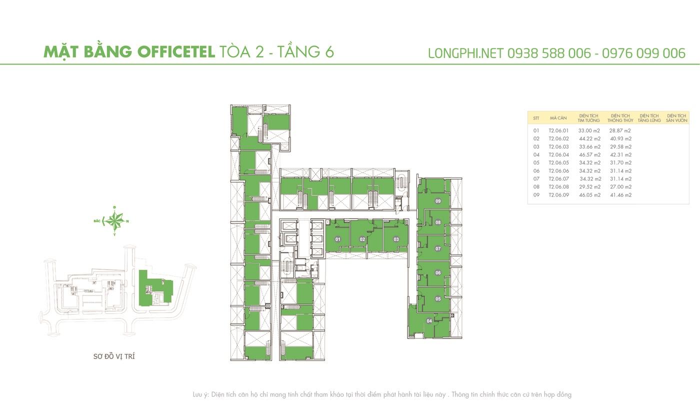 Mặt bằng căn hộ officetel M-One tầng 6 tháp T2.