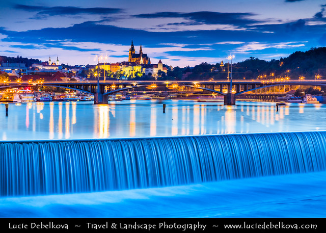 Czech Republic - Prague - Prague Castle & Saint Vitus's Cathedral from Vltava River at Dusk - Twilight - Blue Hour - Night