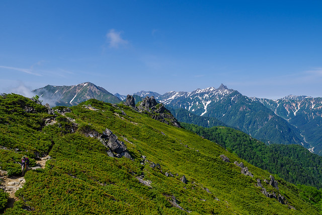 蛙岩と大天井岳・穂高連峰・槍ヶ岳・笠ヶ岳