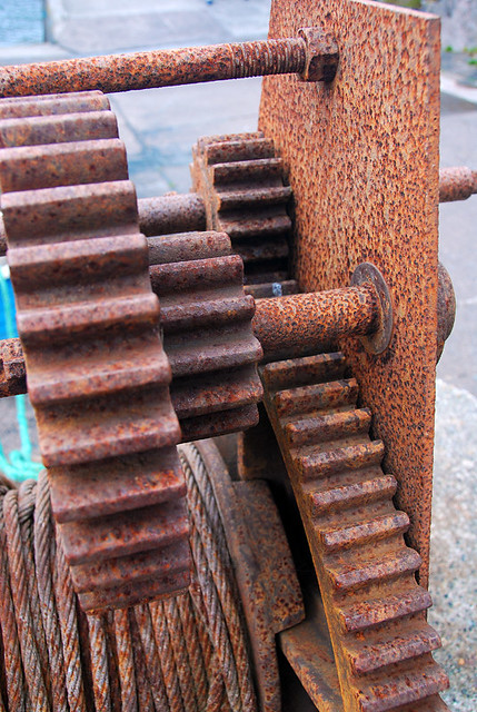 Rusty gears on a dock used to haul in the boats. Found on our one-lane detour in the Dingle Peninsula, Ireland