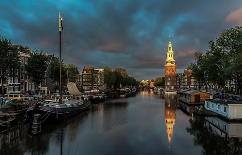 amsterdam canal montelbaantoren sunrise architecture clouds cityscape boats sailboats