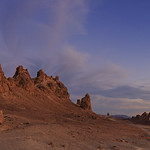 19. Juuli 2017 - 20:19 - I shot this at the Trona Pinnacles towards the end of the peak of the time period where the sky was nice and colorful - prior to this panorama, I was shooting a sunset time lapse.  This panorama was stitched together from 18 vertical frames shot with my Canon 6D and Tokina AT-X 17-35mm at 1/5 sec f/5.6 ISO 100 at 30mm.  The Trona Pinnacles are an unusual geological feature in the California Desert National Conservation Area. The unusual landscape consists of more than 500 tufa spires (porous rock formed as a deposit when springs interact with other bodies of water), some as high as 140 feet (43 m), rising from the bed of the Searles Lake (dry) basin. The pinnacles vary in size and shape from short and squat to tall and thin, and are composed primarily of calcium carbonate (tufa). They now sit isolated and slowly crumbling away near the south end of the valley, surrounded by many square miles of flat, dried mud and with stark mountain ranges at either side.  The Pinnacles are recognizable in more than a dozen hit movies. Over thirty film projects a year are shot among the tufa pinnacles, including backdrops for car commercials and sci-fi movies and television series such as Battlestar Galactica, Star Trek V: The Final Frontier, Disney's Dinosaur, The Gate II, Lost in Space, and Planet of the Apes.